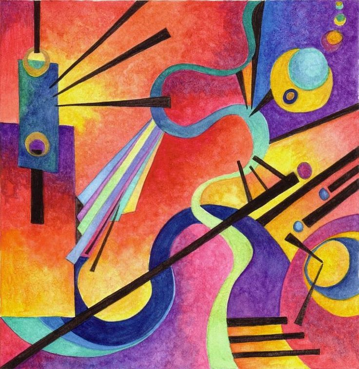 Wassily kandinsky inspired art using colour and shape to create an abstract design