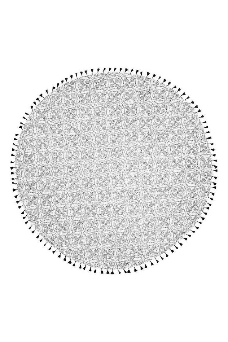 Serviette de plage ronde - Blanc/motif - Home All   H&M FR