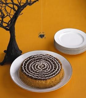 Spider's Web Pumpkin Cheesecake