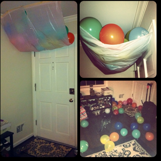 Making a balloon canopy worked out way better for me than the balloon avalanche I previously pinned. Just tape two garbage bags to the ceiling and tuck the ends into the door. The birthday boy/girl is showered with balloons when they open it.