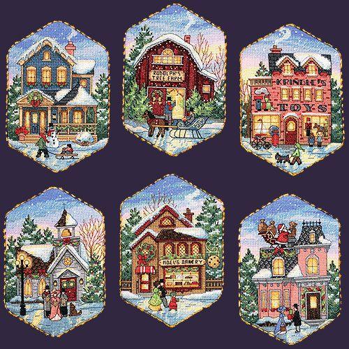 Скачать Christmas Village Ornaments бесплатно. А также другие схемы вышивок в разделах: , Dimensions, Домашние животные, Домики, Зима, Рождество