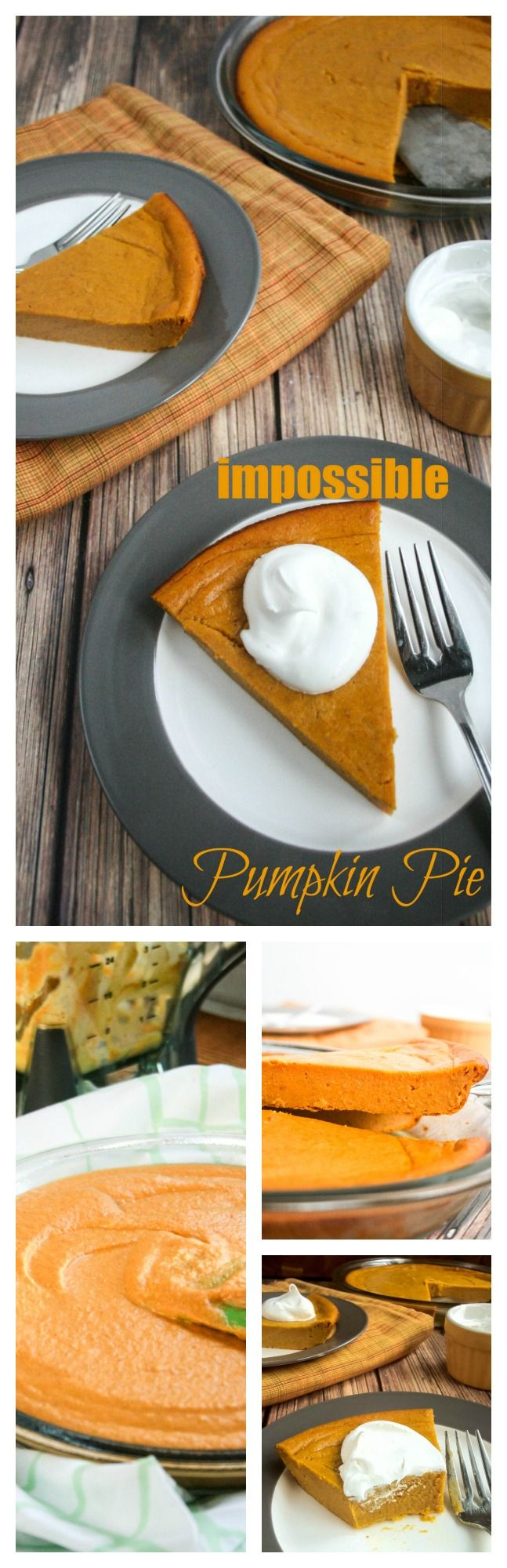 Impossible Pumpkin Pie. Hate making pie pastry? This pie is for you. Just throw all the ingredients in a blender, pour it into a pie plate and bake. It magically makes its own crust! Impossibly easy!