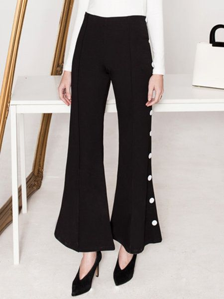Shop Flared Pants - Black Plain Elegant Flared Pant online. Discover unique designers fashion at StyleWe.com.