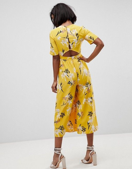 3adbd2bbac18 Tea Jumpsuit with Ruched Sleeve in Floral Print