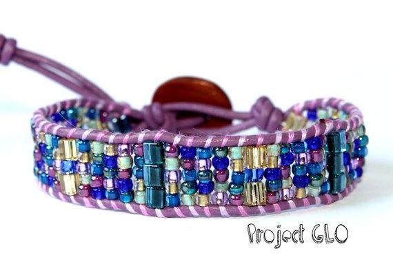 Lilac Leather Wrap Bracelet Braccialetto da di ProjectGLO su Etsy