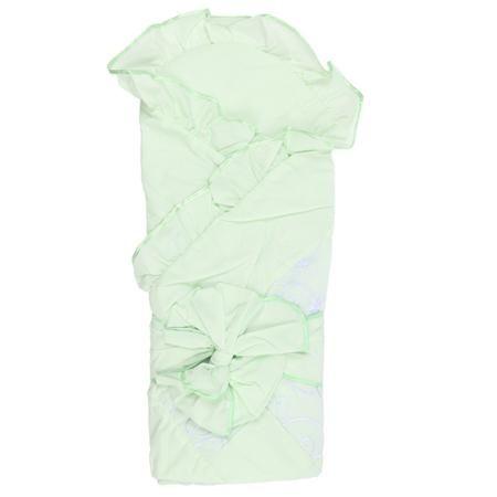 """Плакса Конверт-одеяло Пэчворк  — 2495р. ------------------------ Конверт-одеяло """"Пэчворк""""салатовогоцвета марки Плакса. Конверт, выполненный из чистого хлопка, дополнен подкладкой из холлофайбера, которая обеспечивает хорошую вентиляцию и терморегуляцию. Изделие декорировано нежными рюшами, объёмным бантом и кружевом.Конверт на выписку в дальнейшем можно использовать как одеяло для малыша. Размер: 105х105 см."""