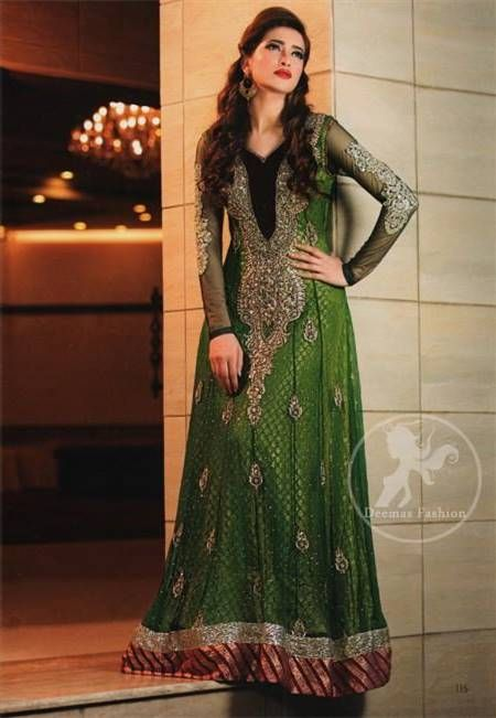 Nice pakistani mehndi green dresses 2017-2018