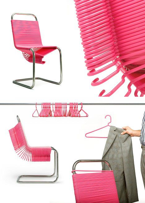 Is this not the coolest thing ever? Coat Check Chair!