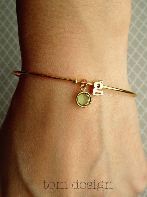 Letter Bracelet / Birthstone Bracelet / Initial and Birthstone Bangle / Initial Bracelet / Letter Charm Bangle / Personalized Bangle