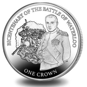 IOM Bicentenary Battle of Waterloo Napoleon 2015 Silver Proof Coin Unc. $99.99