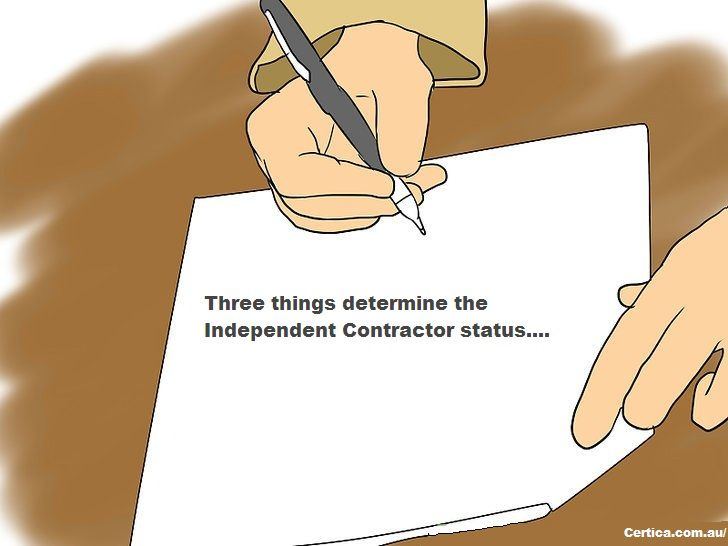 Three things determine the #Independent_Contractor status.... Behavioral: perform his work with own knowledge, tactic. Financial: handle all travel, equipment expenses Relationship: must know relationship between worker and hiring party.