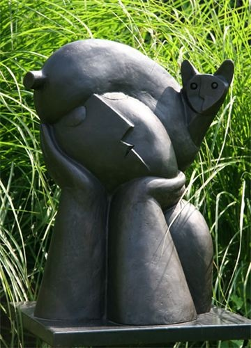 Outdoor #sculpture of a cat on a person by Peter Harskamp