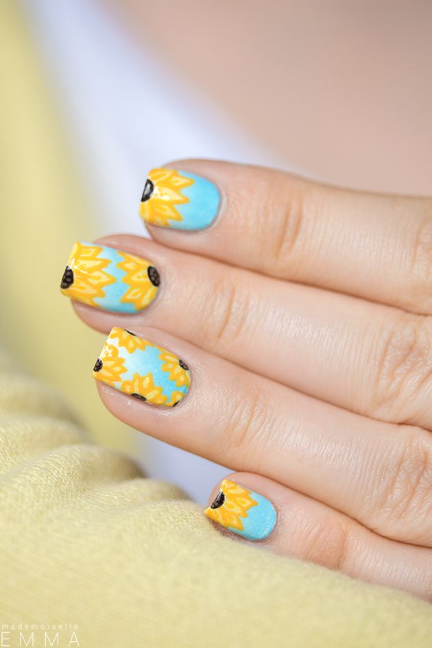 Stunning sunflower nails for summer #nailspiration