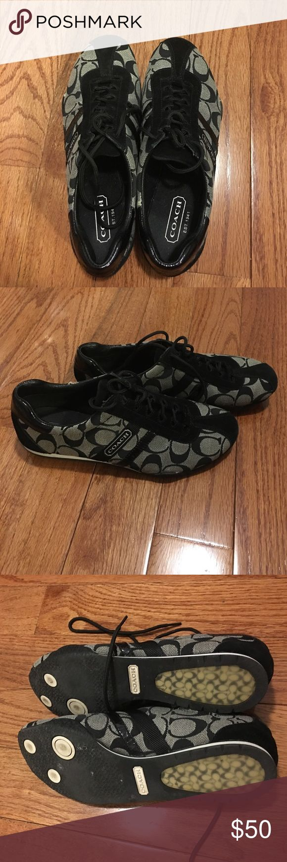 Black Coach Sneakers These are a pair of beautiful Coach sneakers. They are a size 8. They are in great condition. The rubber is slightly coming apart from the sides as shown in the photos but this can be fixed very easily with glue. Coach Shoes Sneakers
