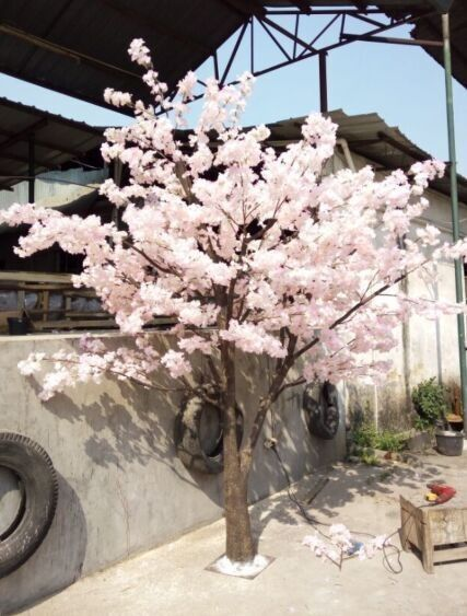 White artificial cherry blossom tree / fake cherry flower tree / artificial plant for garden landscaping