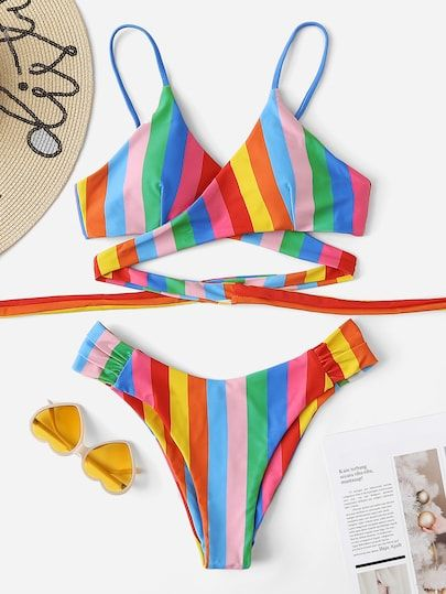 0fa28bb98a75a Striped Wrap Top With High Cut Bikini Set | Colorful Tops|Two-piece ...