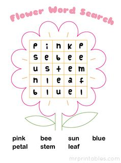 printable word search puzzle flower and other easy word searches found on this site: Mr. Printables @ mrprintables.com
