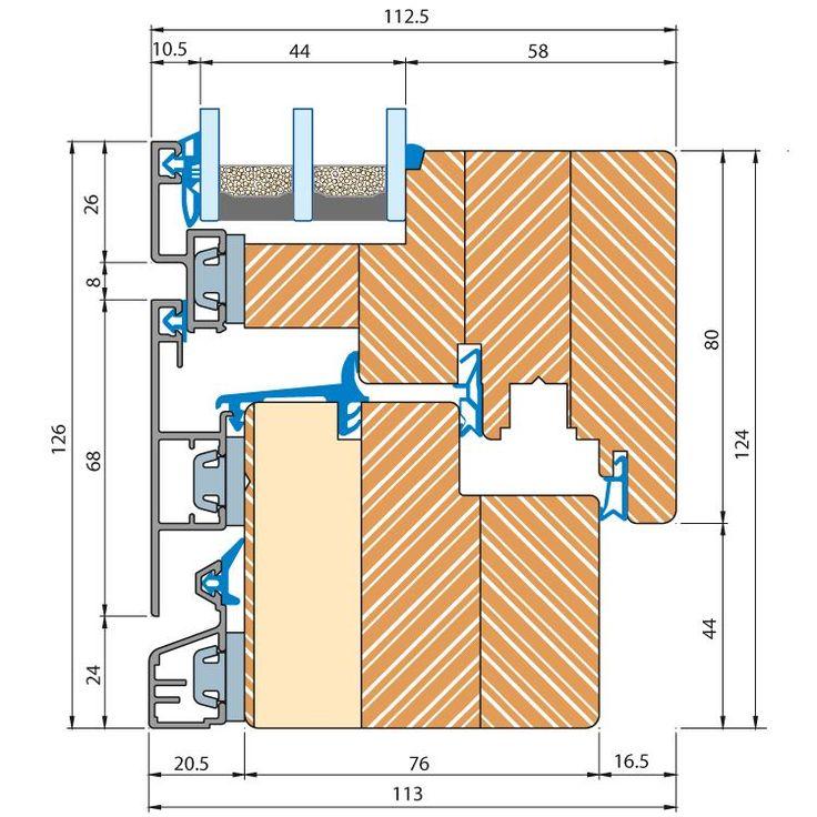 Holz-Alu Fenster ECO Plano - Profilschnitt