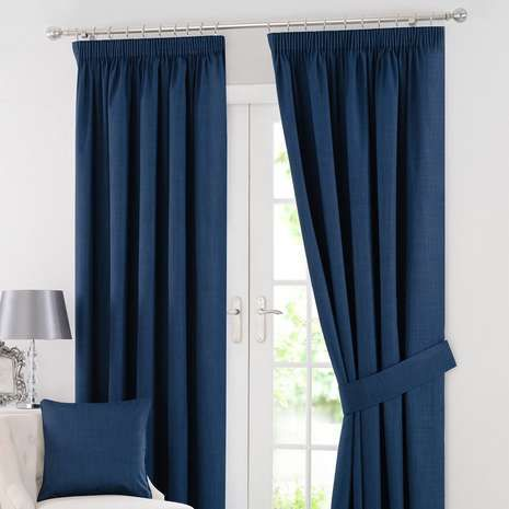 Complete with a classic pencil pleat header, these navy curtains feature blackout properties to effectively reduce external light and noise entering, available ...