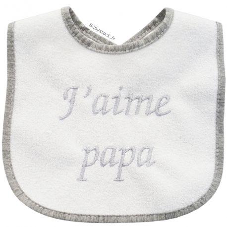 cf3ec3f54906c Bavoir bébé mixte en éponge doublure dos PVC brodé J aime Papa gris  fabriqué au