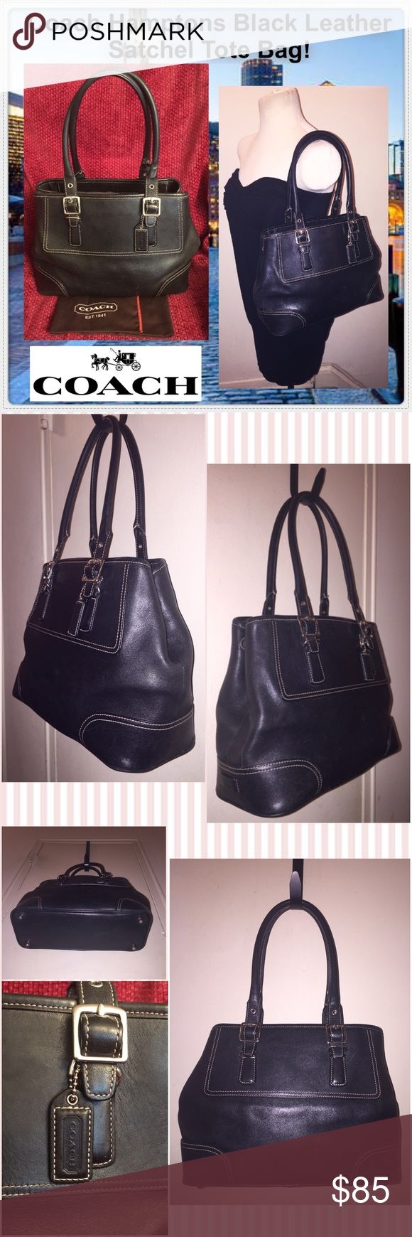 """Coach Hamptons Blk Leather Satchel Tote Bag! Coach Hamptons Black Leather Satchel Tote Bag! Features: 100% Authentic, top zip closure, two int slip pockets, key fob, one zip pocket, expandable sides (side snaps), distressed black leather, silver nickel hw, bottom metal feet, dual handles with 7"""" drop, Coach Creed & Serial Number & Hangtag. Style No. 7555. Includes dust bag. Measures: Approx. 14"""" across open, 10"""" across closed x 9"""" high x 4 1/2"""" wide. Minor ext marks with a cool light…"""