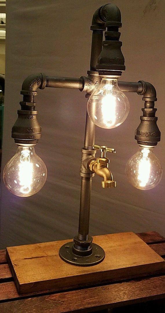3 tier industriële pijp bureaulamp met uitloop door MrWillies