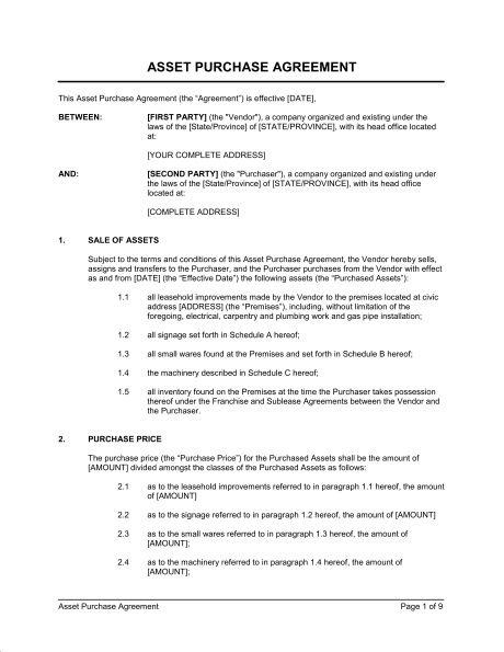 Asset Purchase Agreements Free Bill Of Sale Template Printable Car