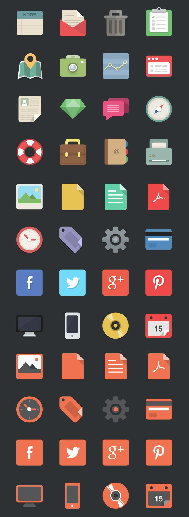 Flat icon vectors     Social media icons, technology icons, office icons     Vecteezy.com