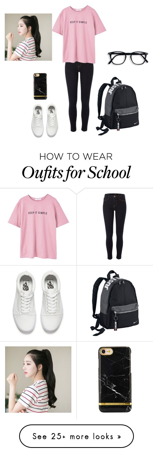 School outfit. by isabella-pohatu on Polyvore featuring River Island, MANGO, NIKE, Vans and GABALNARA