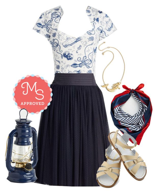 """""""Ooh La La Lady Top in Maritime"""" by modcloth ❤ liked on Polyvore featuring Salt Water Sandals, women's clothing, women, female, woman, misses and juniors"""