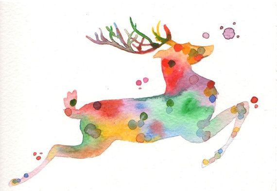 Original watercolor Christmas Card  Reindeer