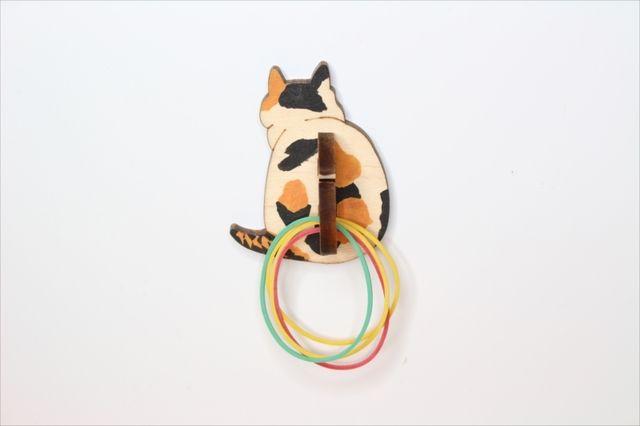 ニャンと便利な!三毛猫の輪ゴムホルダー マグネット