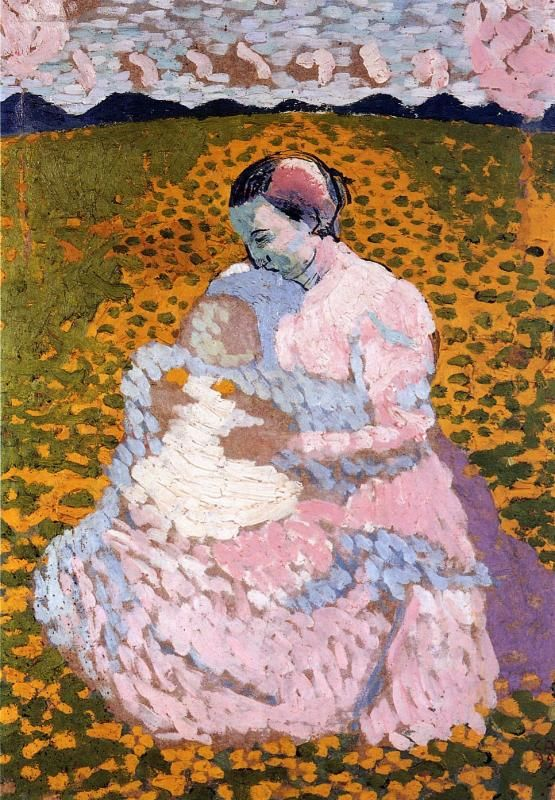 Куно Амье. Мать и ребенок на лугу