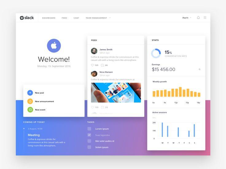 Slack Dashboard Concept Freebie Dashboard Web Design Slacks
