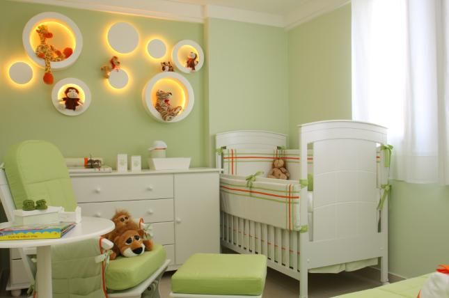 """There are some things that just pulls the whole theme or decorating ideas together - in this, it's the back lighted shelves that makes it """"POP""""!  Adorable Essentials in Baby Room Decor. NolaWest*********************"""
