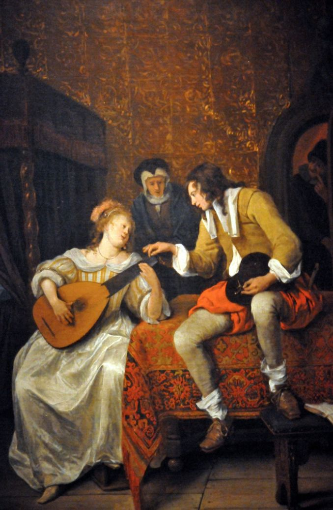 """""""The Music Lesson (Ascagnes and Lucelle)"""" by Jan Steen. 1667 oil on canvas. In the collection of The Corcoran Museum (Now part of The National Gallery), Washington, DC. Cropped image from a photo by MBell1975"""