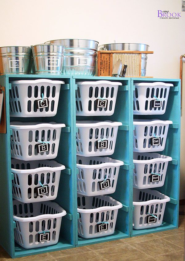This would be so helpful to have. My laundry baskets end up being glorified clutter catchers that end up at the foot of the bed catching the stuff at the end of the night that I don't know where to put! Why not have a shelf of them and put all the junk from the whole house :)