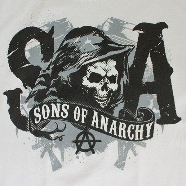 soa reaper logos and states | Home // Shirts // Sons Of Anarchy Men's Silver Reaper SOA Logo T-Shirt