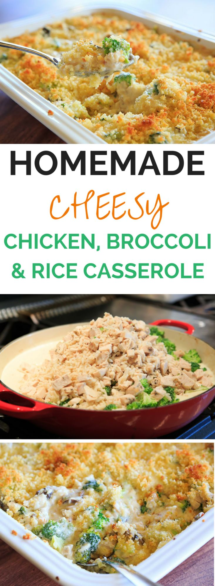 Cheesy Chicken, Broccoli & Rice Casserole - A homemade recipe for chicken, broccoli and rice casserole made completely from scratch with a cheesy cream sauce and topped with buttered breadcrumbs. | browneyedbaker.com