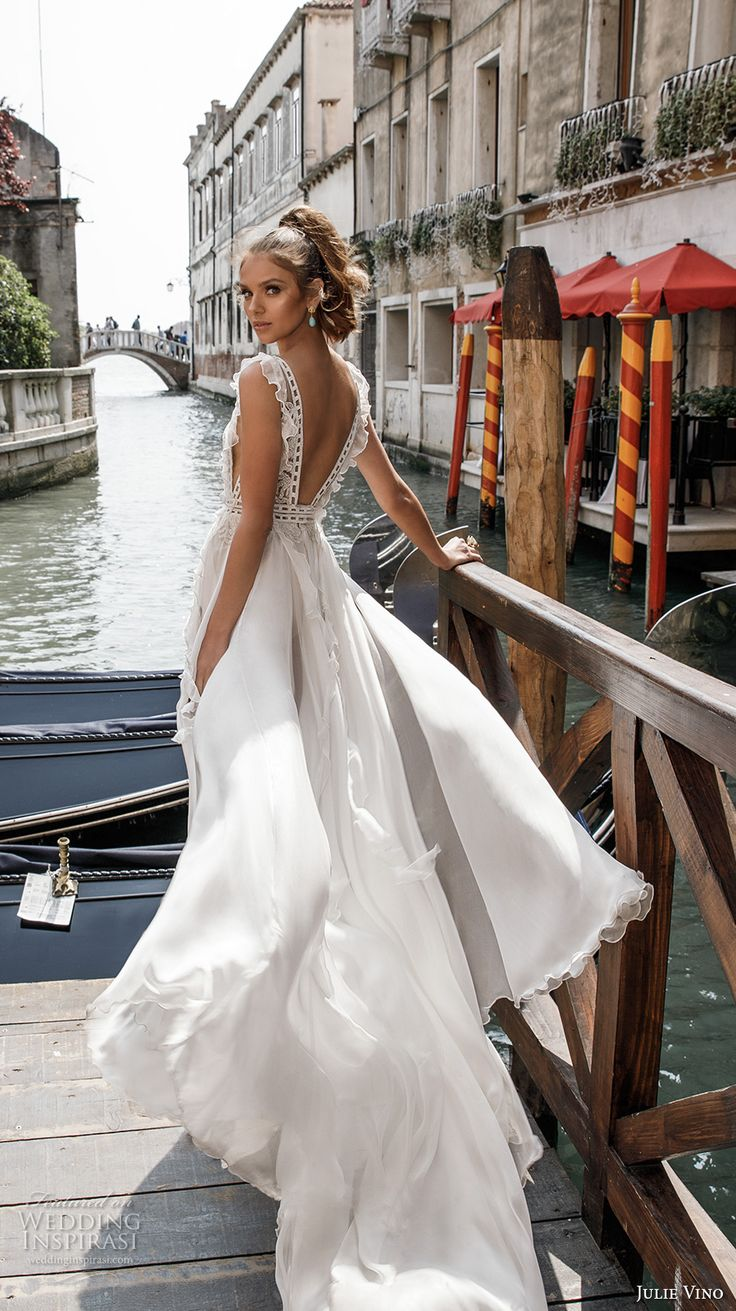 julie vino spring 2018 bridal sleeveless deep v neck heavily embellished bodice side split flowy skirt romantic sexy a  line wedding dress open back chapel train (12) bv -- Julie Vino Spring 2018 Wedding Dresses