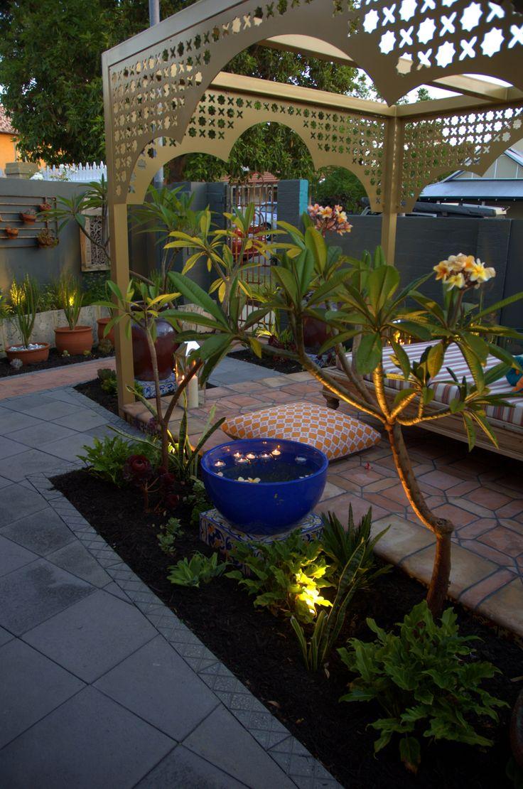 Lovely Frangipani, floating flowers and lights in the garden #pergola  #LandscapeDesignIdea