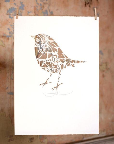 ROBIN IN THE CUT | Hand Cut Stencil Work Small: 350mm x 500mm $250 Large: 500mm x 700mm $350 | Flox.co.nz