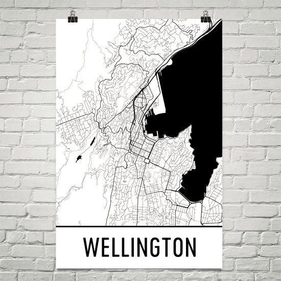 Wellington Map Art Print, Wellington New Zealand Art Poster, Wellington Print, Wellington Wall Art, Wellington Poster, Gift, Modern, Art