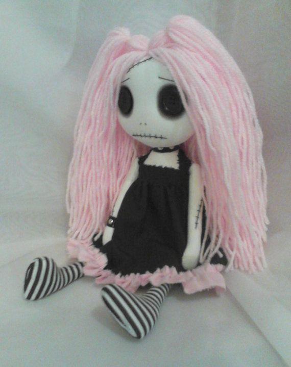 Gothic Rag Doll  Lizy the pastel goth by ChamberOfDolls on Etsy, £27.50