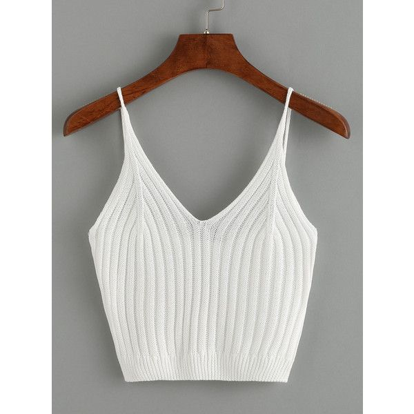 SheIn(sheinside) Ribbed Knit Crop Cami Top - White (£6.77) ❤ liked on Polyvore featuring tops, white crop tank, cropped tank top, white camisole, cropped tops and white tops