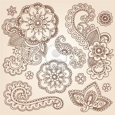 Henna Paisley Mandala Flowers Mehndi Tattoo Doodles Set Stock Photo