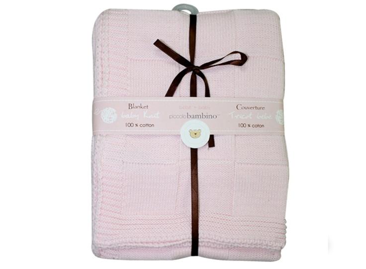 Stickad babyfilt, checkered, rosa - Bonti