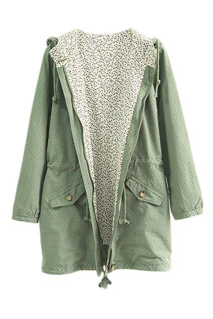 ROMWE | Dot Print Green Hoodied Coat · Online Clothing StoresStreet ...