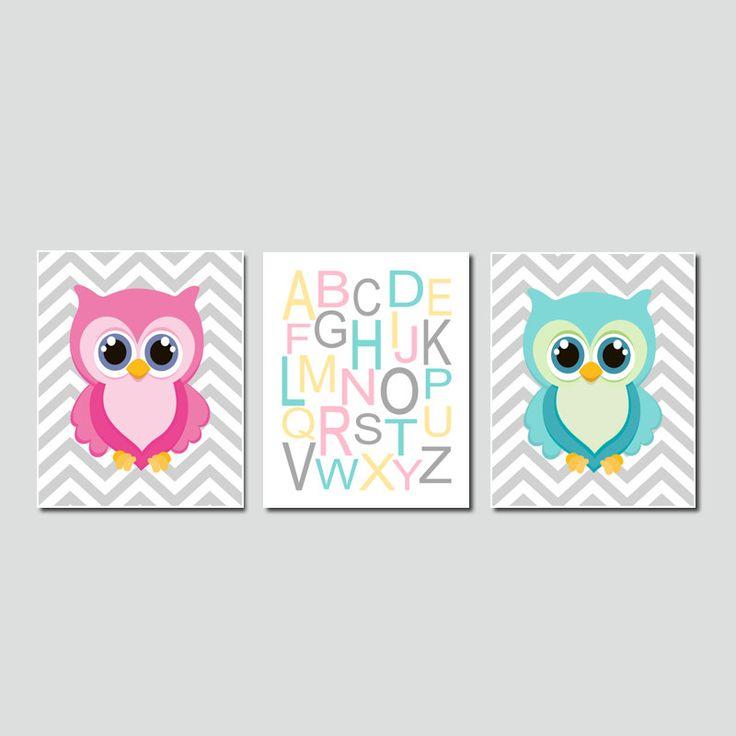 Owl Nursery Wall Art Chevron Alphabet Set by LovelyFaceDesigns, $25.00