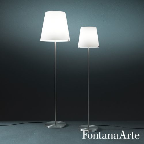 The FontanaArte 3247 Floor Lamp is a nickel-plated metal frame and diffuser in frosted white blown glass. Black power cable, plug and switch. $1,376
